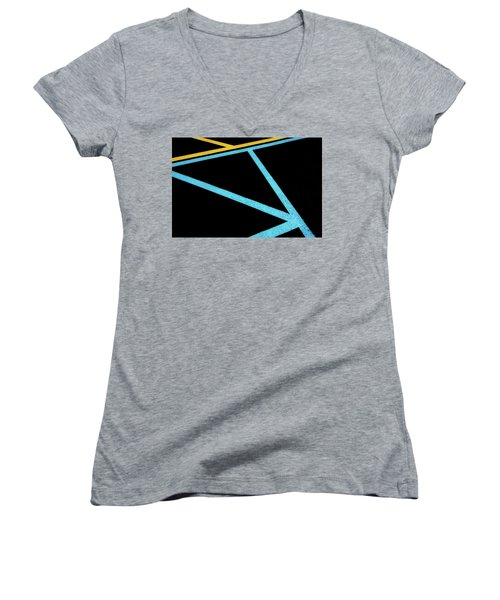 Women's V-Neck T-Shirt featuring the photograph Partallels And Triangles In Traffic Lines Scene by Gary Slawsky