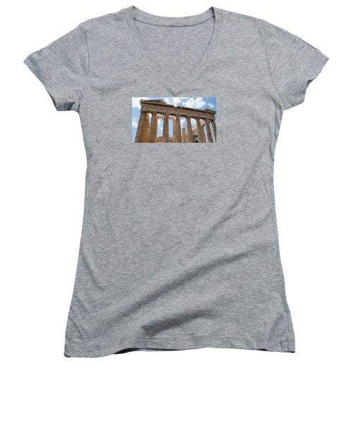 Women's V-Neck T-Shirt (Junior Cut) featuring the photograph Parthenon by Robert Moss