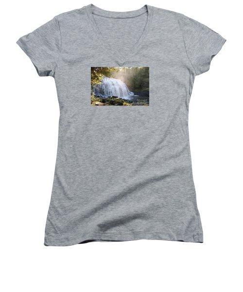 Women's V-Neck T-Shirt (Junior Cut) featuring the photograph Partridge Falls by Sandra Updyke