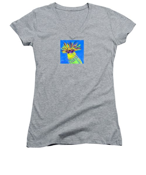 Women's V-Neck T-Shirt (Junior Cut) featuring the digital art Party Animal by Jean Pacheco Ravinski