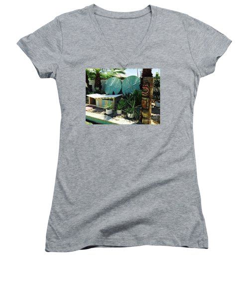 Party At The Doghouse Women's V-Neck T-Shirt (Junior Cut) by Beth Saffer