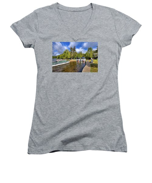 Women's V-Neck T-Shirt featuring the photograph Party Barges At Palmer Point by David Patterson