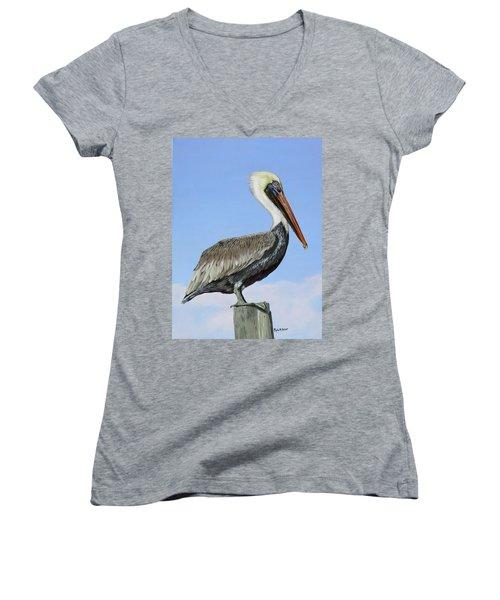 Pass Christian Sentinel Women's V-Neck T-Shirt (Junior Cut) by Phyllis Beiser
