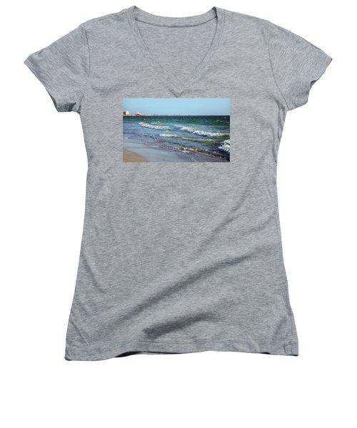 Women's V-Neck T-Shirt (Junior Cut) featuring the photograph Passagrill Beach by Ginny Schmidt