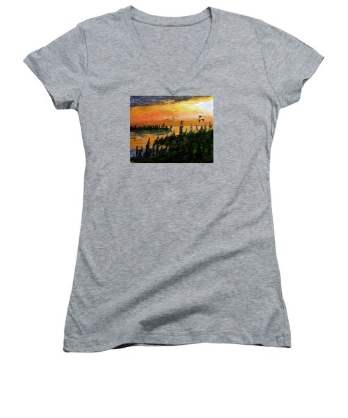 Passing The Rugged Shore Women's V-Neck (Athletic Fit)