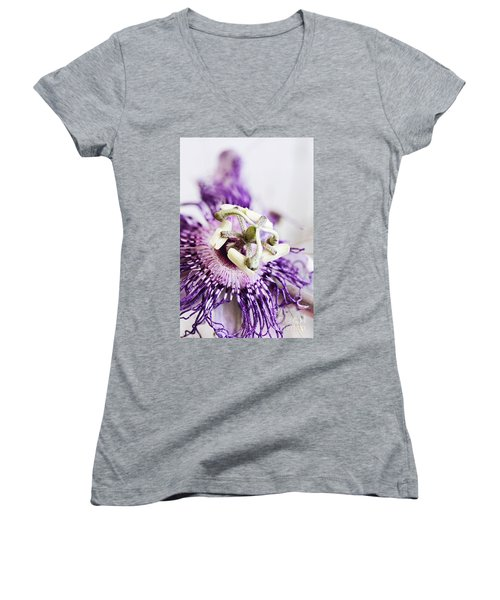 Women's V-Neck T-Shirt (Junior Cut) featuring the photograph Passion Flower by Stephanie Frey