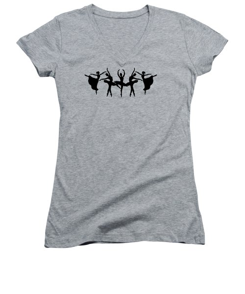 Passionate Dance Ballerina Silhouettes Women's V-Neck T-Shirt
