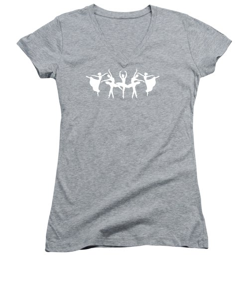 Passionate Dance Ballerinas Silhouettes In White Women's V-Neck