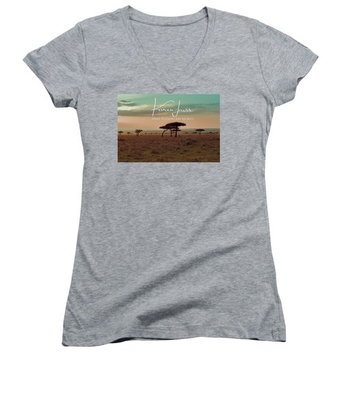 Women's V-Neck T-Shirt (Junior Cut) featuring the photograph Pastel Dawn On The Mara by Karen Lewis