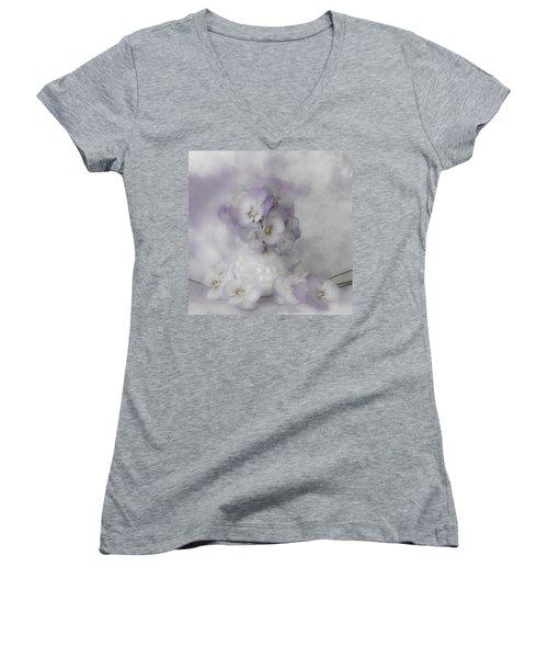 Pastel Pansies Still Life Women's V-Neck T-Shirt (Junior Cut) by Sandra Foster