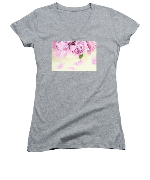 Pastel Pink Peonies  Women's V-Neck T-Shirt (Junior Cut) by Stephanie Frey