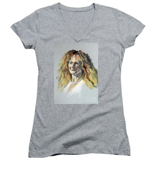 Pastel Portrait Of Woman With Frizzy Hair Women's V-Neck