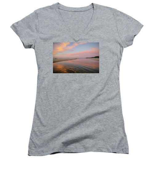 Pastel Skies And Beach Lagoon Reflections Women's V-Neck (Athletic Fit)