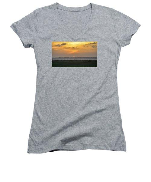 Women's V-Neck T-Shirt (Junior Cut) featuring the photograph Pastel Sky by Debra Martz