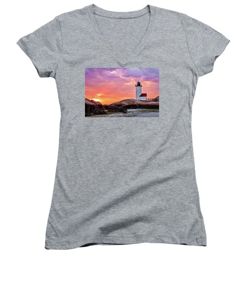 Women's V-Neck featuring the photograph Pastel Sunset, Annisquam Lighthouse by Michael Hubley