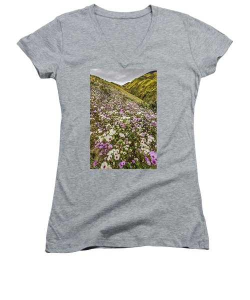 Women's V-Neck T-Shirt (Junior Cut) featuring the photograph Pastel Super Bloom by Peter Tellone