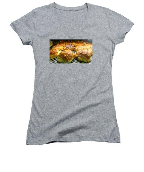 Pasties  Women's V-Neck T-Shirt (Junior Cut) by Raymond Earley