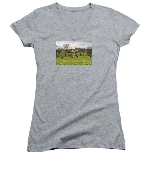 Women's V-Neck T-Shirt (Junior Cut) featuring the photograph Pastoral by Larry Ricker