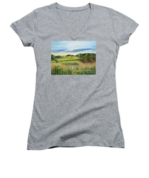 Pasture Love At Chateau Meichtry - Ellijay Ga Women's V-Neck