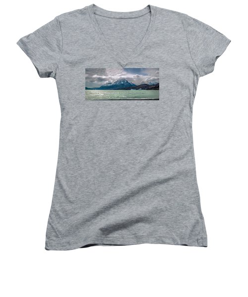 Women's V-Neck T-Shirt (Junior Cut) featuring the photograph Patagonia Lake by Andrew Matwijec