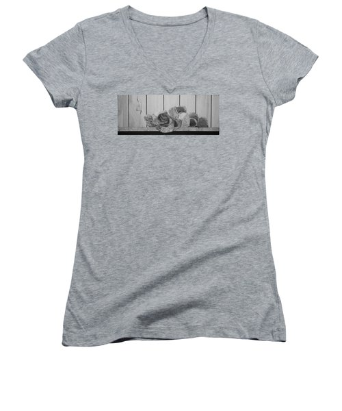 Women's V-Neck T-Shirt (Junior Cut) featuring the painting Patch Work by A  Robert Malcom