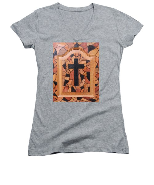 Patchwork And Cross Women's V-Neck T-Shirt (Junior Cut) by Lisa Brandel