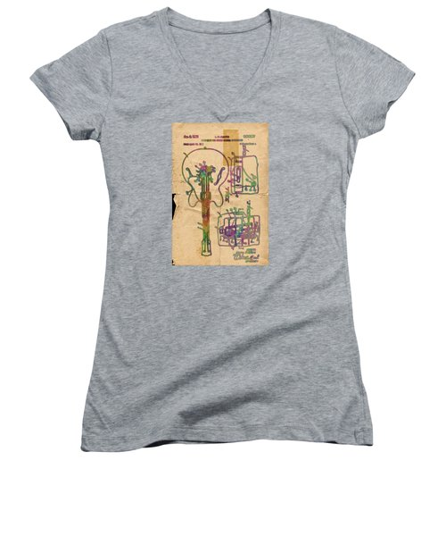 Patent Gibson Guitar Drawing Poster Print Women's V-Neck (Athletic Fit)