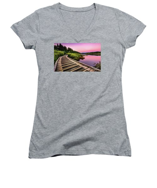Path By The Lake Women's V-Neck T-Shirt (Junior Cut) by Rod Jellison