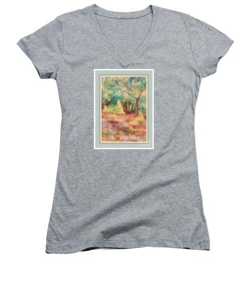Path Shortcut Green Border Women's V-Neck T-Shirt