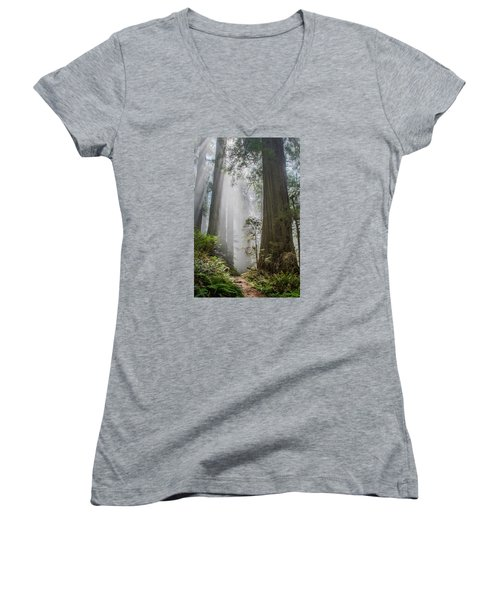 Path Through The Light Women's V-Neck T-Shirt (Junior Cut) by Greg Nyquist