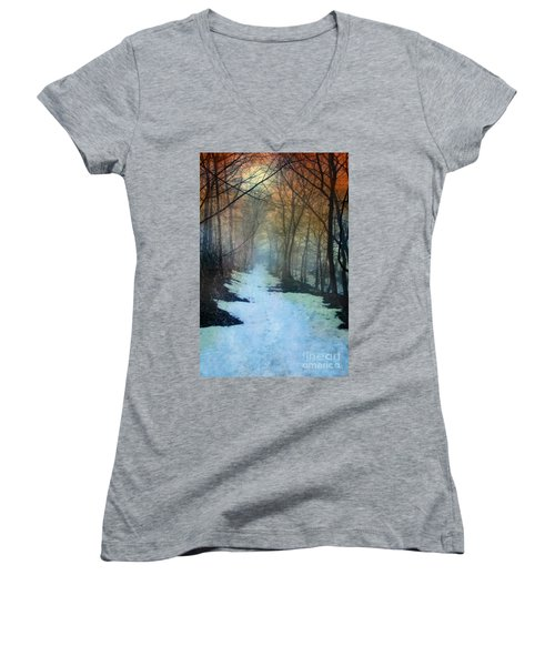 Path Through The Woods In Winter At Sunset Women's V-Neck T-Shirt