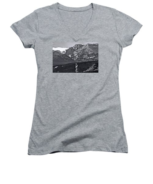 Women's V-Neck T-Shirt (Junior Cut) featuring the photograph Path To Longs Peak by Dan Sproul