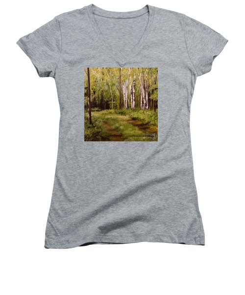 Path To The Birches Women's V-Neck T-Shirt (Junior Cut) by Laurie Rohner