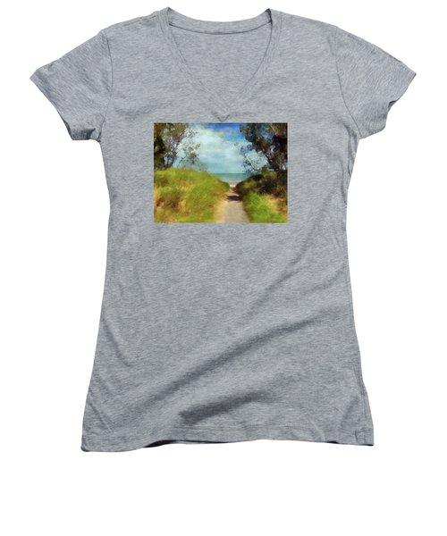 Path To Whihala Beach 2 Women's V-Neck T-Shirt (Junior Cut) by Cedric Hampton