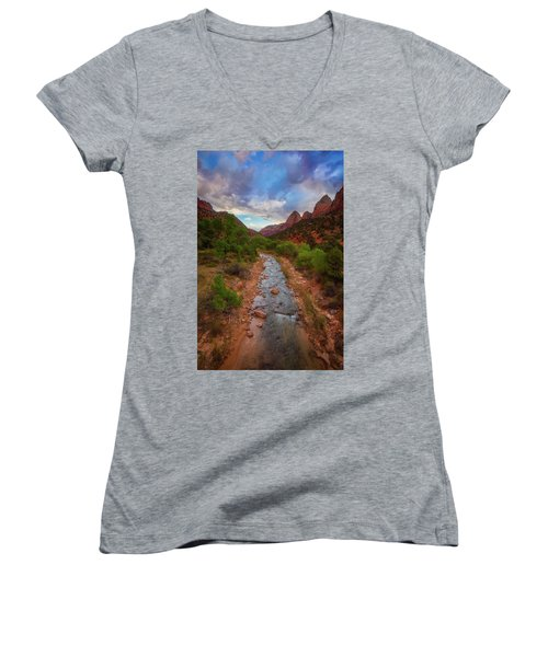 Women's V-Neck T-Shirt (Junior Cut) featuring the photograph Path To Zion by Darren White