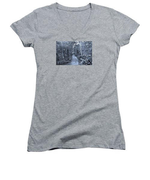 Path Trough The Blue Wood Women's V-Neck T-Shirt
