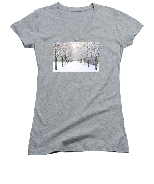 Pathway In Snow Women's V-Neck T-Shirt (Junior Cut) by Marius Sipa