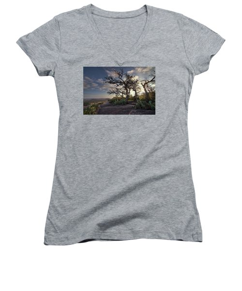 Pathway On Top Of Enchanted Rock Women's V-Neck (Athletic Fit)