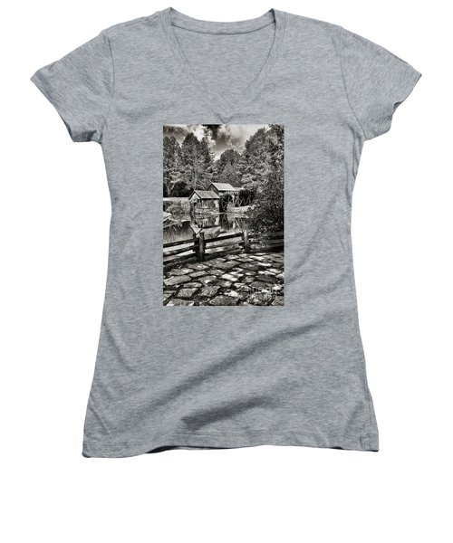 Pathway To Marby Mill In Black And White Women's V-Neck T-Shirt (Junior Cut) by Paul Ward