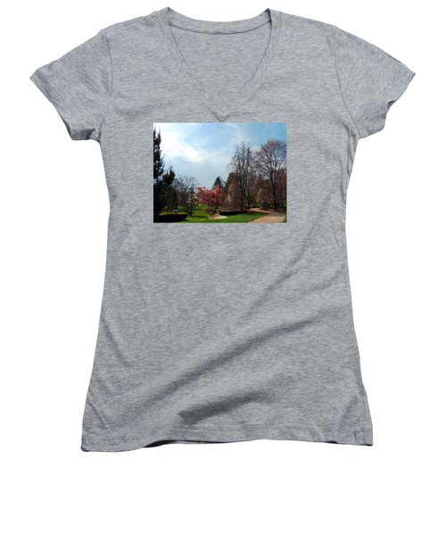 Women's V-Neck T-Shirt (Junior Cut) featuring the photograph Pathway To Spring by Teresa Schomig