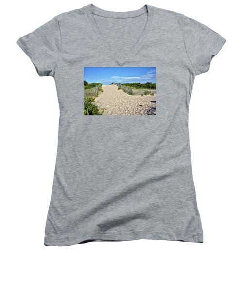 Women's V-Neck T-Shirt (Junior Cut) featuring the photograph Pathway To The Beach - Delaware by Brendan Reals