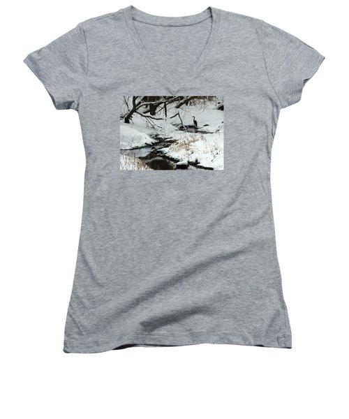 Women's V-Neck T-Shirt (Junior Cut) featuring the photograph Patiently Waiting 2 by Paula Guttilla