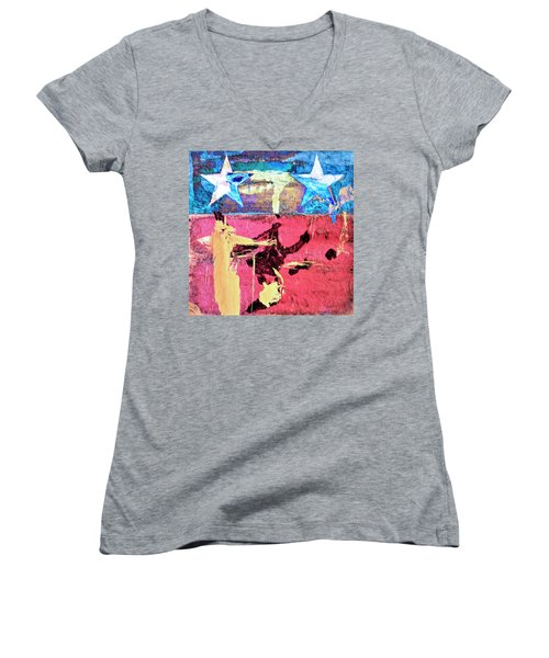 Women's V-Neck T-Shirt (Junior Cut) featuring the painting Patriot Act by Dominic Piperata