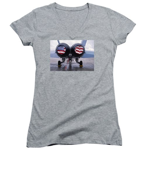 Patriotic American Flag Covers On The Rear Of An American F/a-18 Hornet Fighter Combat Jet Aircraft. Women's V-Neck