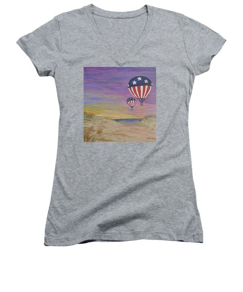 Women's V-Neck T-Shirt (Junior Cut) featuring the painting Patriotic Balloons by Debbie Baker