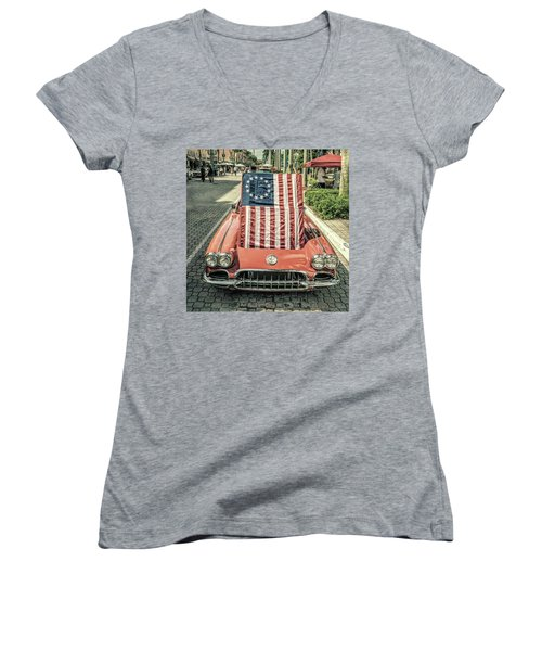 Patriotic Vette Women's V-Neck