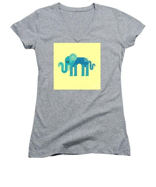 Women's V-Neck featuring the digital art Pattern Elephant by Vix Edwards