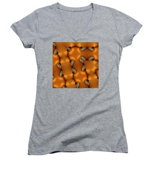Opposing Patterns Women's V-Neck T-Shirt (Junior Cut) by Ron Bissett