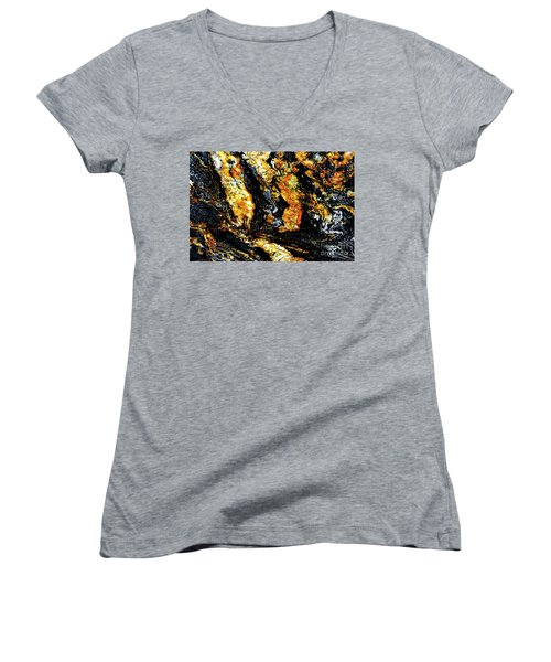 Women's V-Neck T-Shirt (Junior Cut) featuring the photograph Patterns In Stone - 185 by Paul W Faust - Impressions of Light