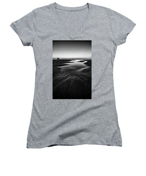 Women's V-Neck T-Shirt (Junior Cut) featuring the photograph Patterns In The Sand by Jon Glaser